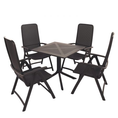 Clip Table with Darsena chairs in Anthracite Grey