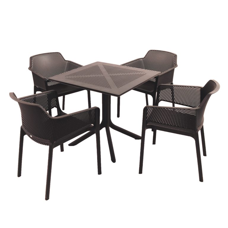 Clip Table with 4 Net Chairs in Anthracite Grey