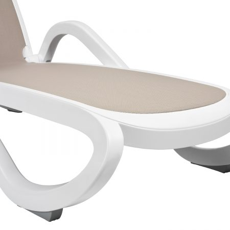 Alfa Sun Lounger in White & Turtle Dove Grey