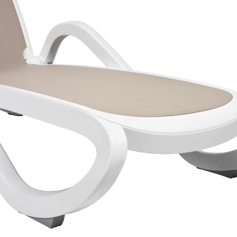Alfa Sun Lounger in White & Turtle Dove Grey