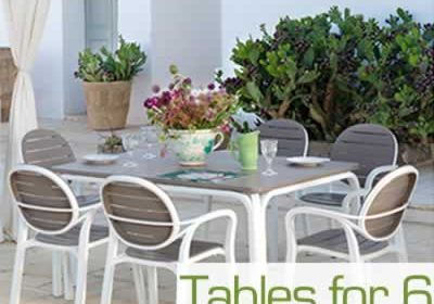 Garden tables for 6 chairs