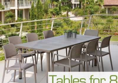 Garden tables for 8 chairs
