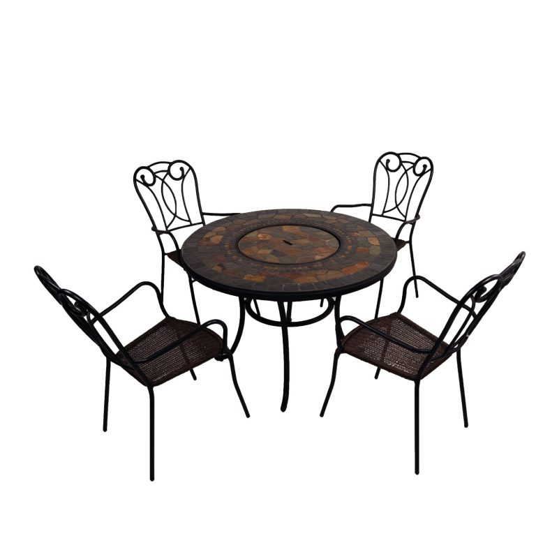 Durango fire pit table with Verona chairs