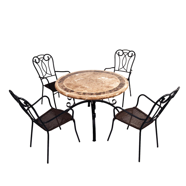 Monaco travertine marble table with Verona chairs