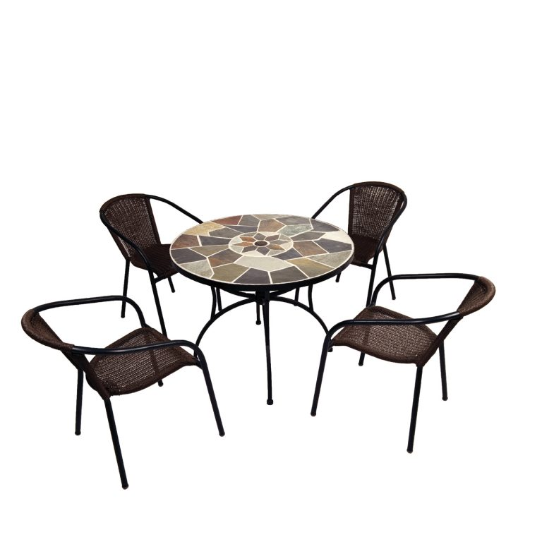 Pomino natural stone table with San Luca chairs