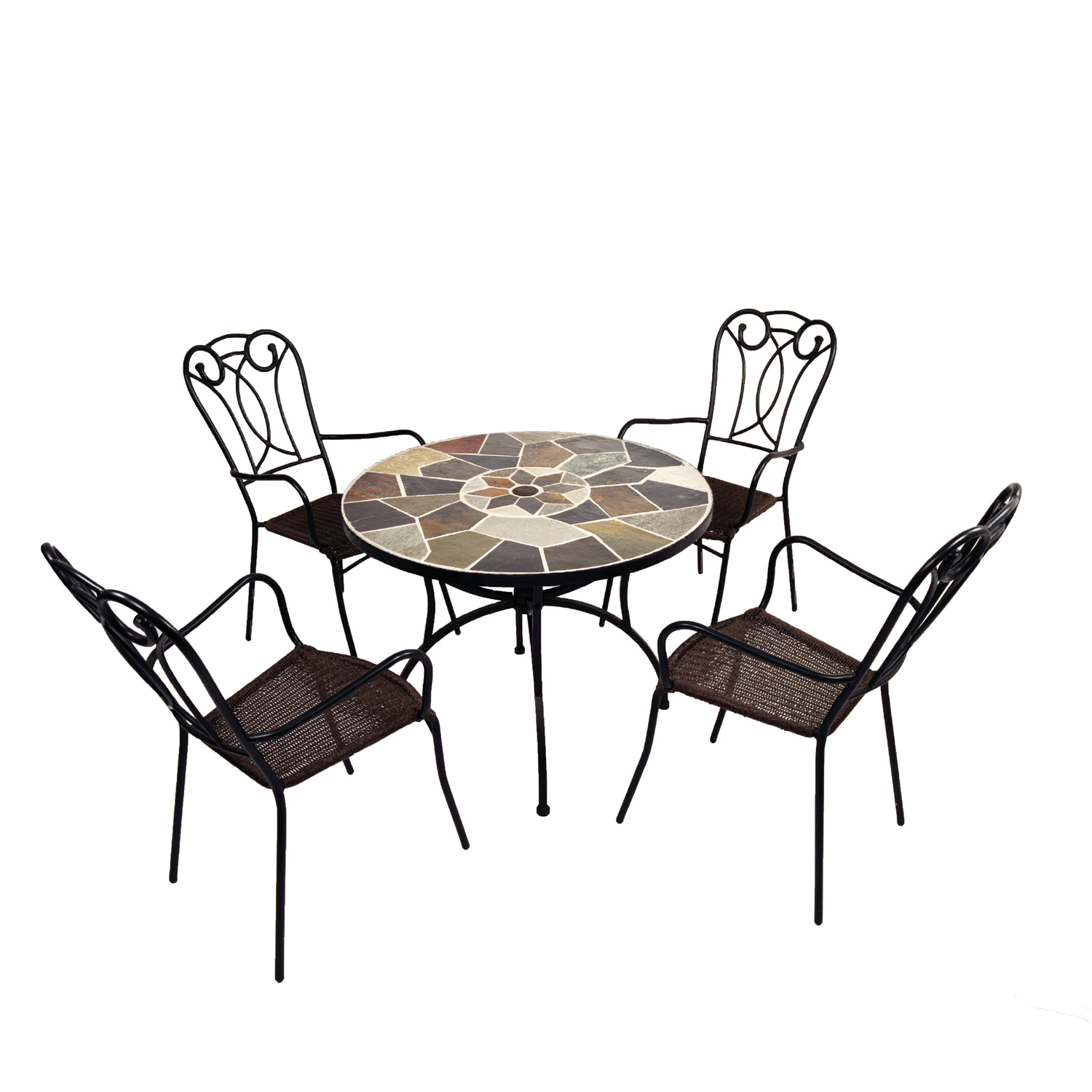 Pomino natural stone table with Verona chairs