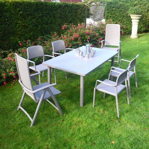 LIBECCIO TABLE WITH 2 DARSENA 4 BORA CHAIR SET TURTLE DOVE LG1
