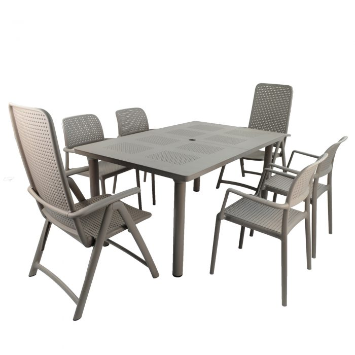 LIBECCIO TABLE WITH 2 DARSENA 4 BORA CHAIR SET TURTLE DOVE WG1
