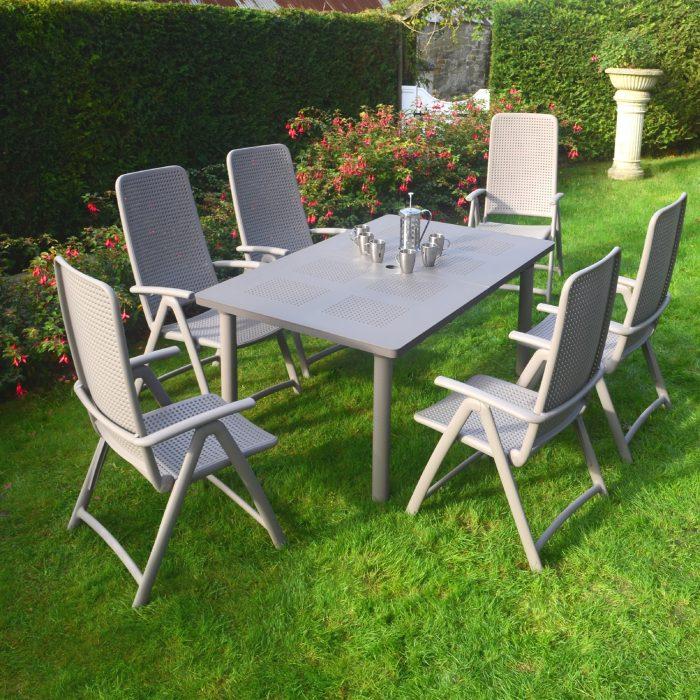 LIBECCIO TABLE WITH 6 DARSENA CHAIR SET TURTLE DOVE LG1