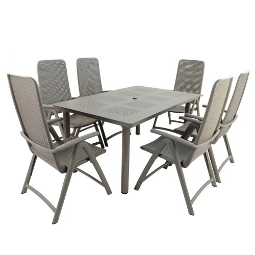 LIBECCIO TABLE WITH 6 DARSENA CHAIR SET TURTLE DOVE WG1