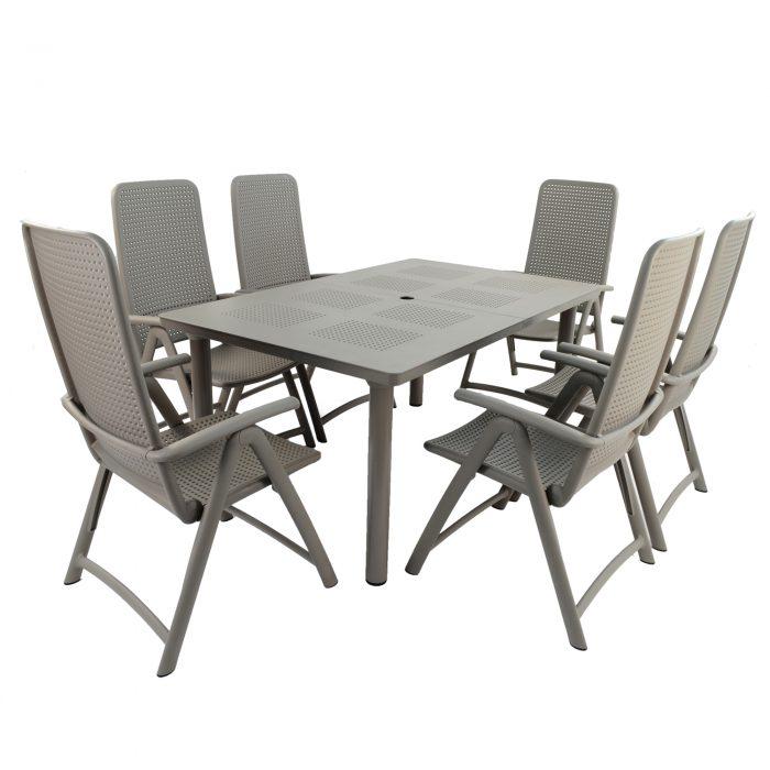 LIBECCIO TABLE WITH 6 DARSENA CHAIR SET TURTLE DOVE WG1