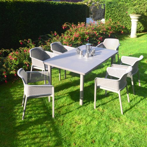 LIBECCIO TABLE WITH 6 NET CHAIR SET TURTLE DOVE LG1