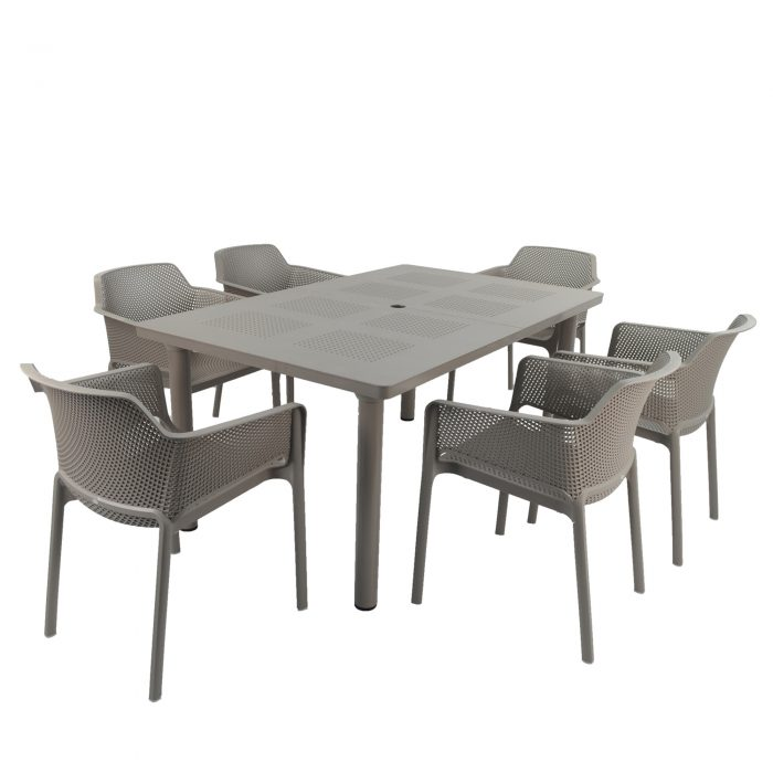LIBECCIO TABLE WITH 6 NET CHAIR SET TURTLE DOVE WG1