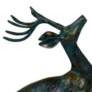 The Stag from the pair of small deer in dark verdigris finish