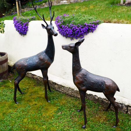 Deer Pair Large Aluminium Dark Verdigris