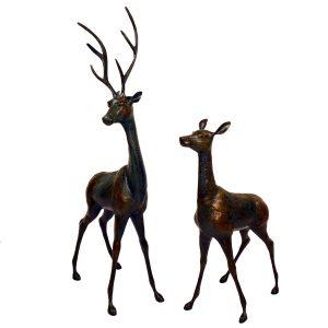 Deer Pair Large Aluminium Dark Verdigris