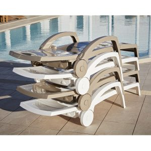 Ocean sunbeds stacked