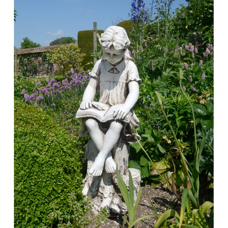 Mary reading girl garden statue