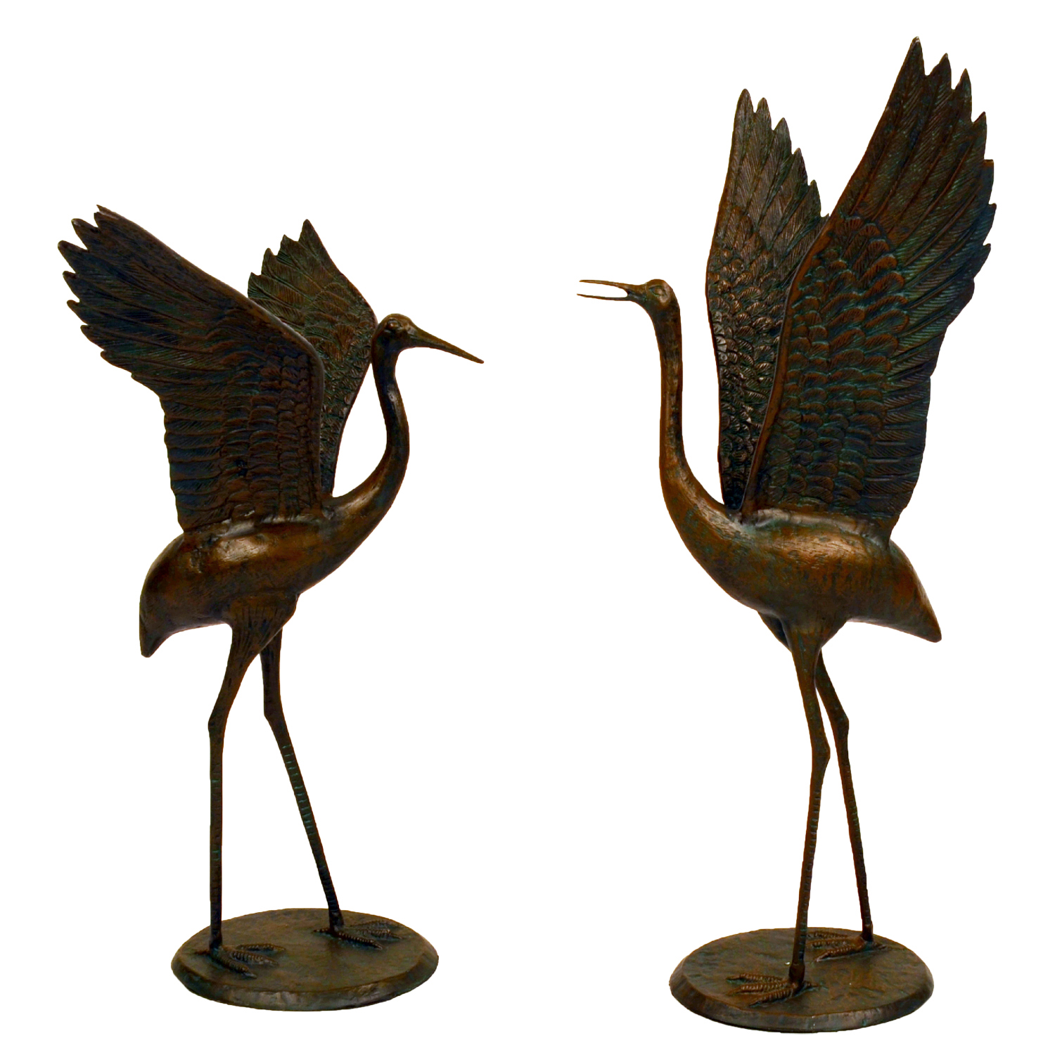 bronze cranes outstretched wings front 2