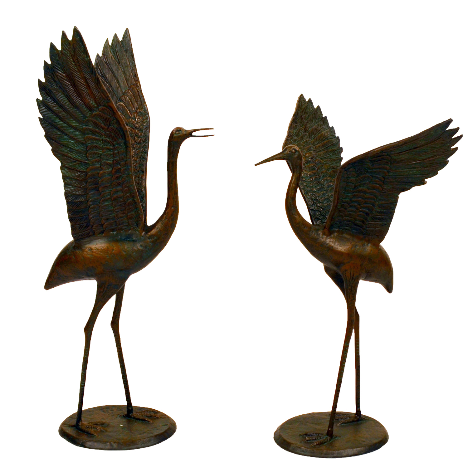 bronze cranes outstretched wings front 1