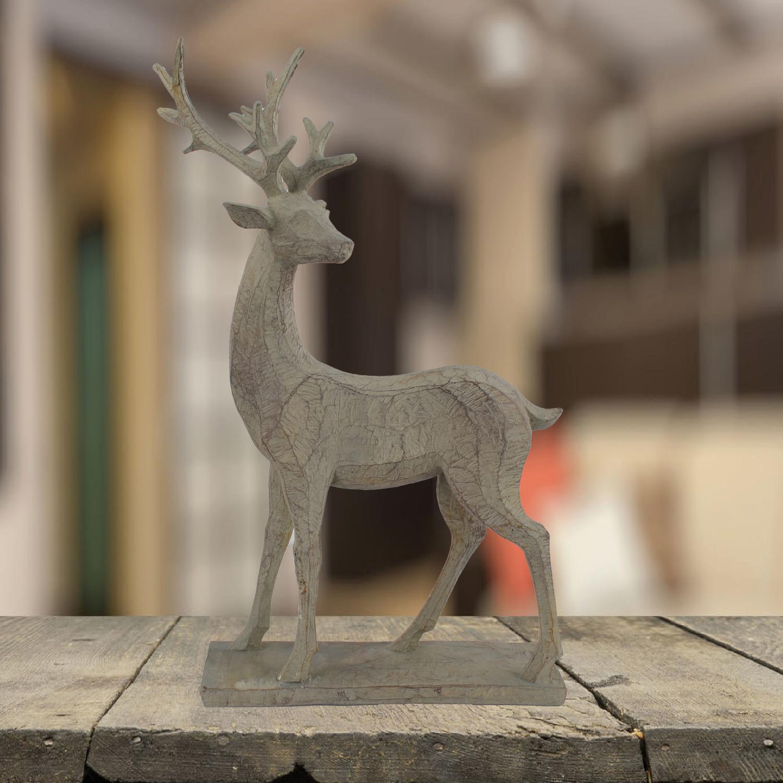 Wood effect standing deer statue