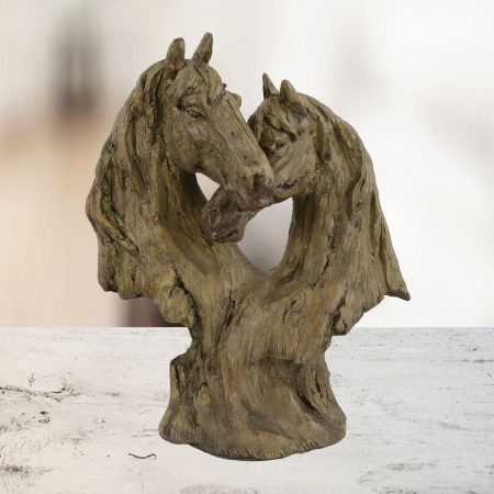 DOUBLE HORSE HEAD 35cm Carved Wood Effect ornament