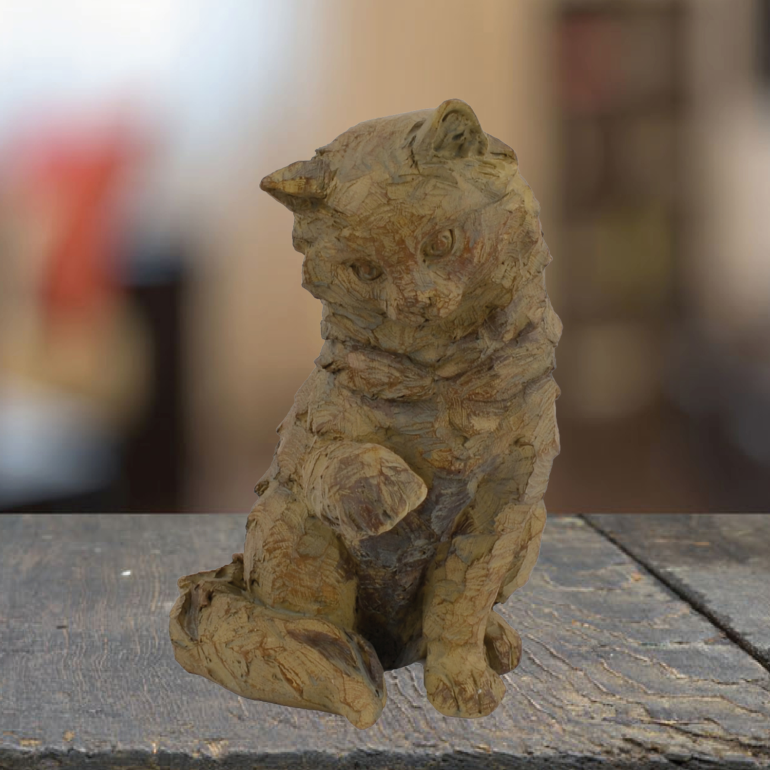 Indoor Cat ornament in carved wood effect.