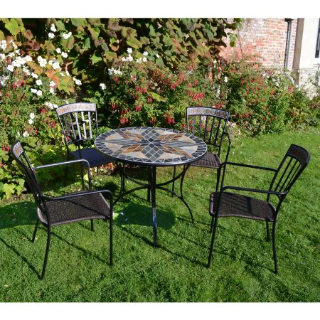 ARLINGTON 91CM PATIO WITH 4 KINGSWOOD CHAIR SET OUTDOOR