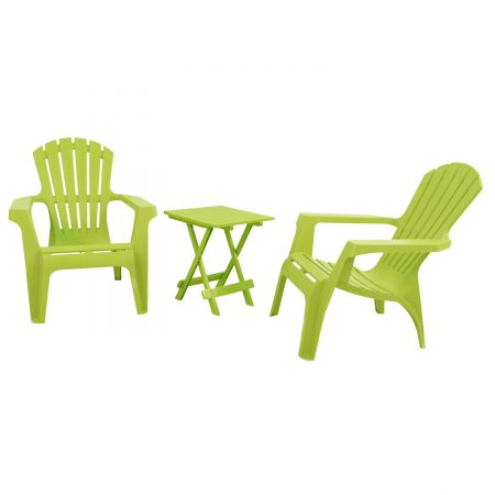 BARI SIDE TABLE WITH 2 ANDRIA CHAIRS SET LIME