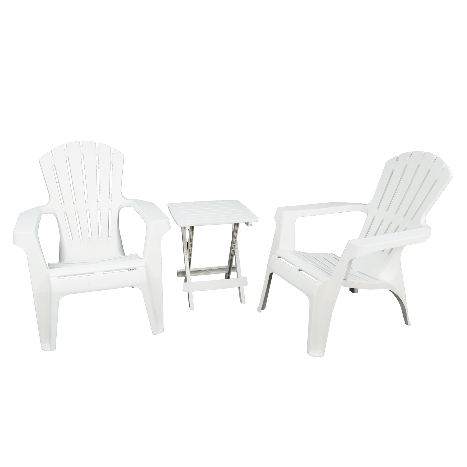 BARI SIDE TABLE WITH 2 ANDRIA CHAIRS SET WHITE