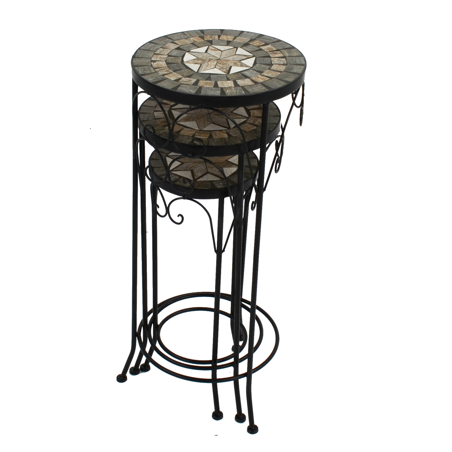 BRAVA PLANTSTAND SET OF 3 TALL STACKED