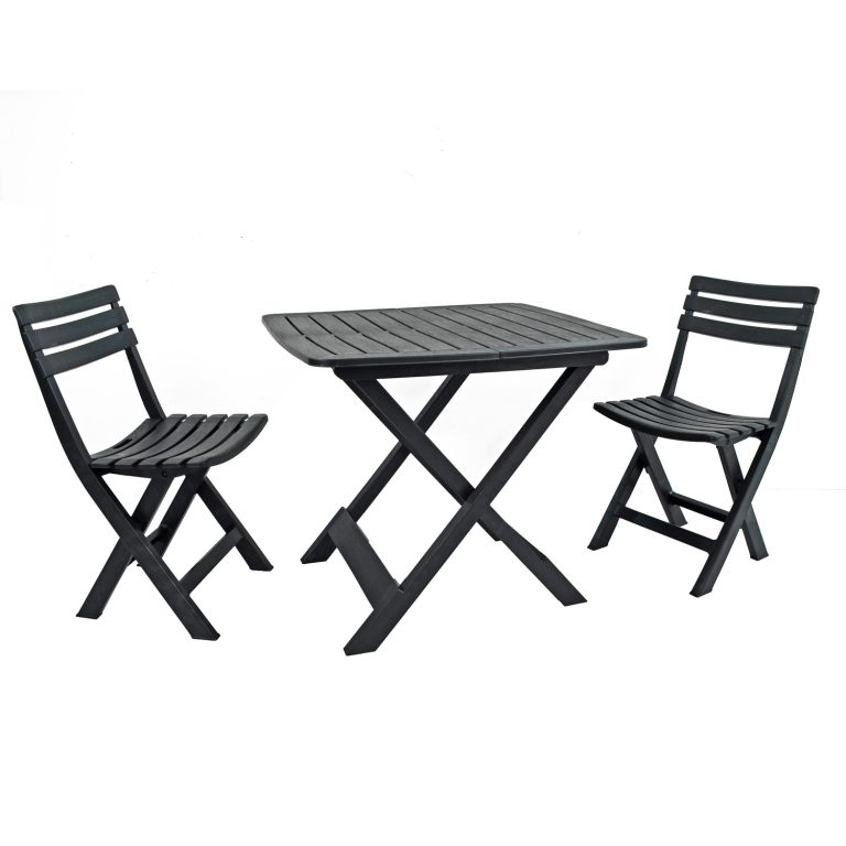 BRESCIA FOLDING TABLE WITH 2 BRESCIA CHAIRS SET ANTHRACITE