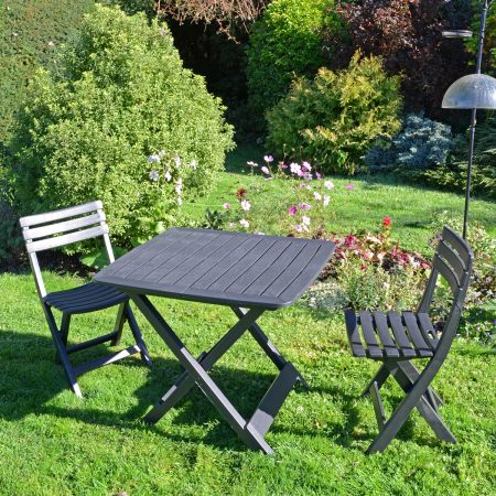 BRESCIA FOLDING TABLE WITH 2 BRESCIA CHAIRS SET ANTHRACITE OUTDOOR