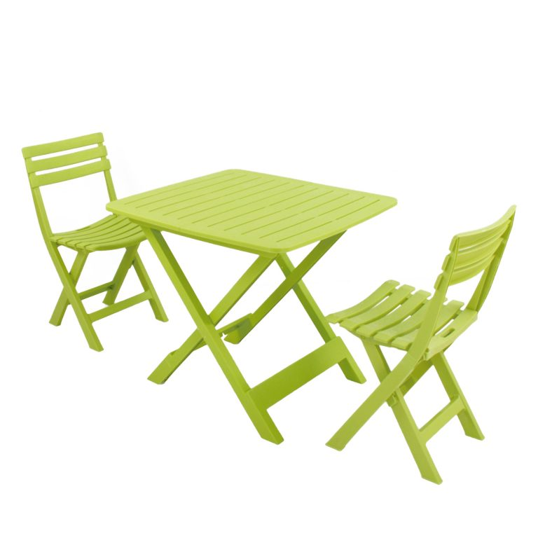 BRESCIA FOLDING TABLE WITH 2 BRESCIA CHAIRS SET LIME