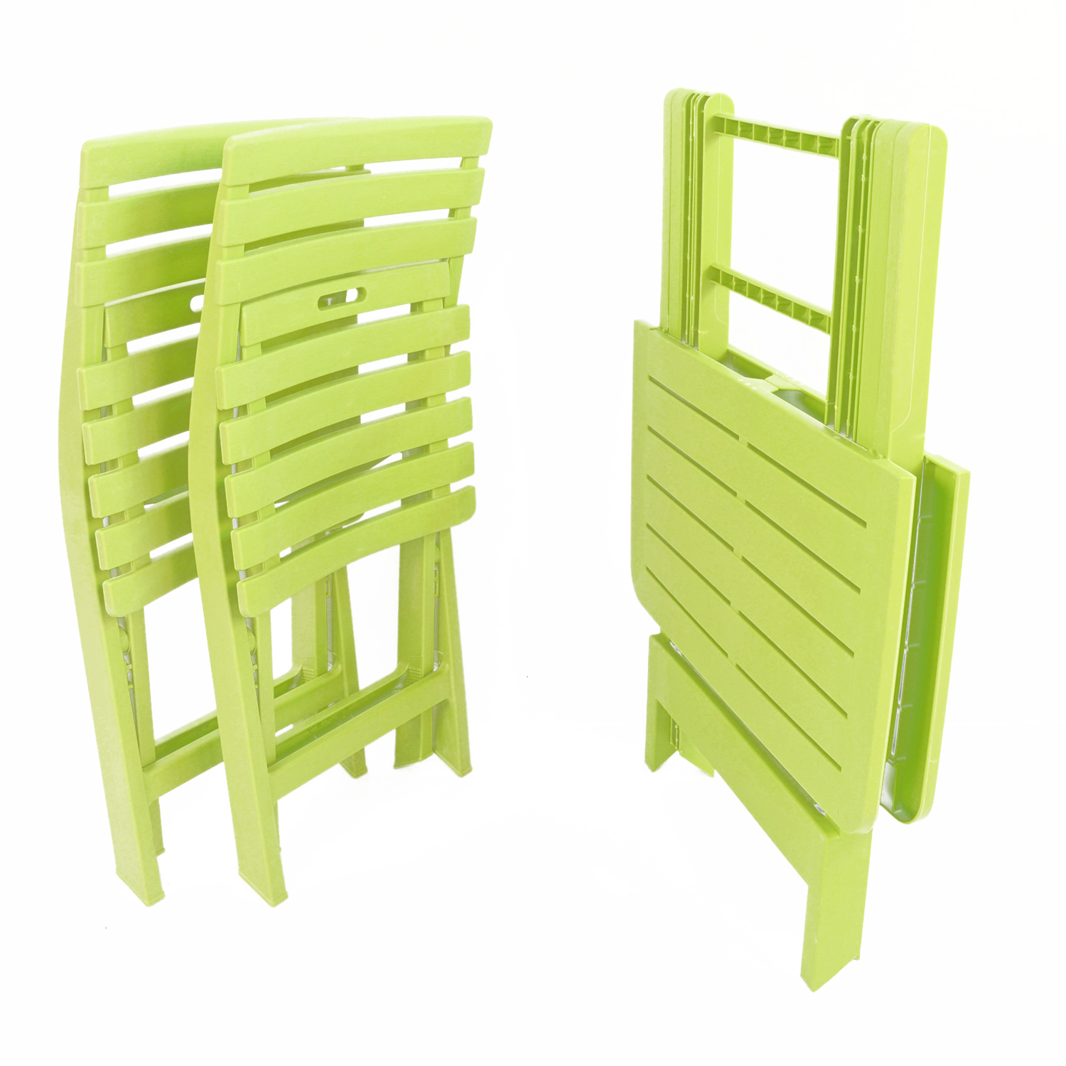 BRESCIA FOLDING TABLE WITH 2 BRESCIA CHAIRS SET LIME FOLDED
