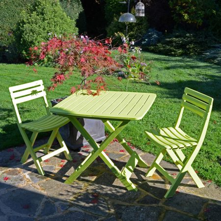 BRESCIA FOLDING TABLE WITH 2 BRESCIA CHAIRS SET LIME OUTDOOR