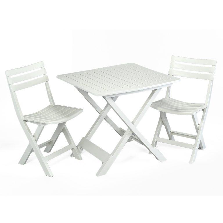 BRESCIA FOLDING TABLE WITH 2 BRESCIA CHAIRS SET WHITE