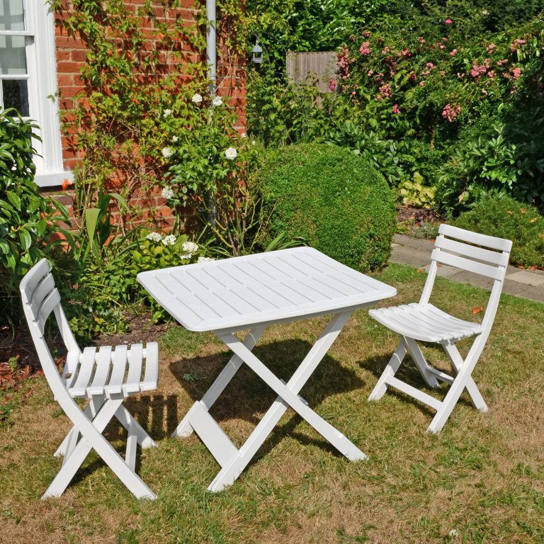 BRESCIA FOLDING TABLE WITH 2 BRESCIA CHAIRS SET WHITE OUTDOOR