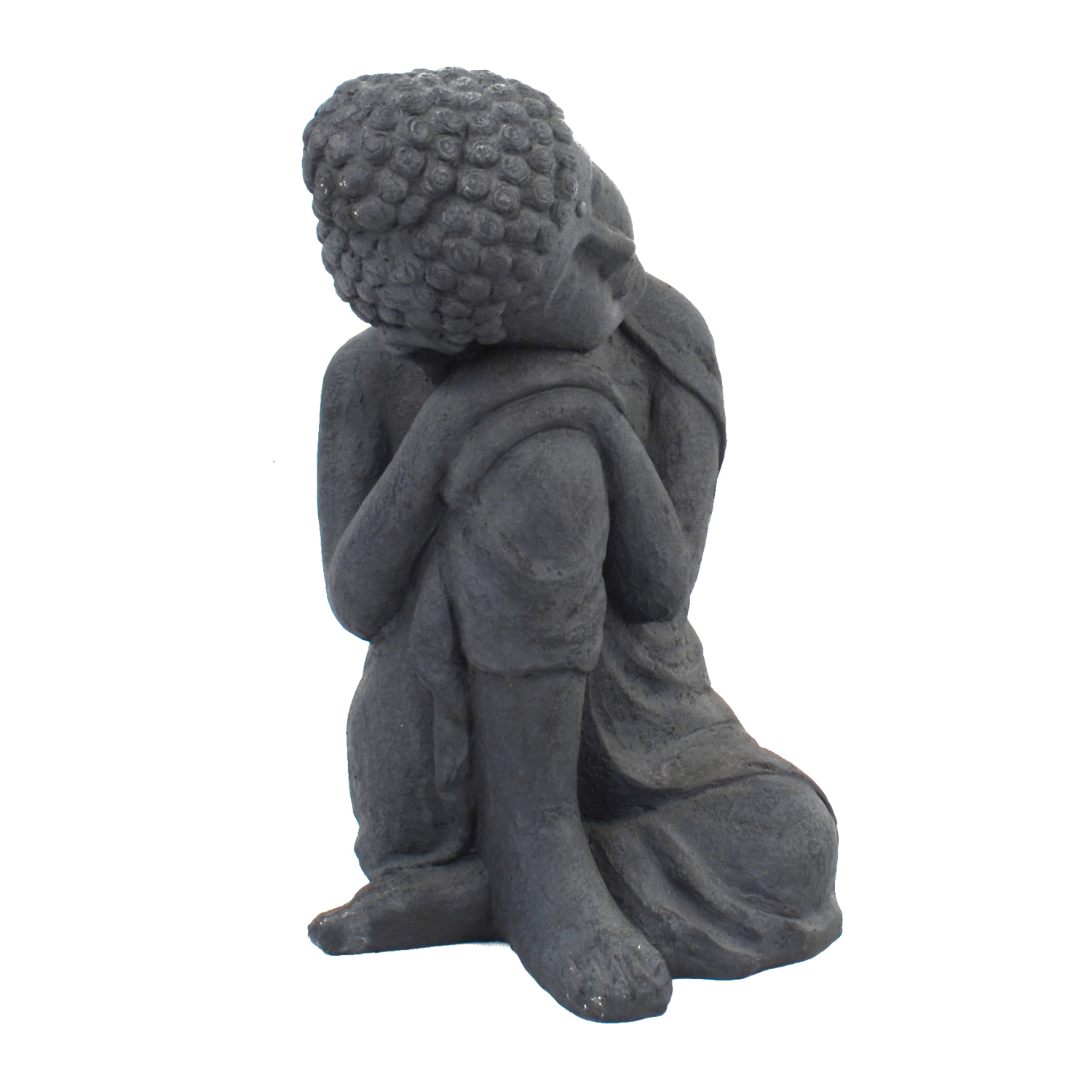 BUDDHA CROUCHING 58CM GREY CHARCOAL EFFECT FRONT RIGHT