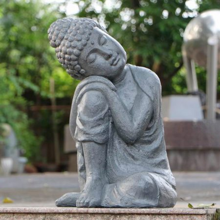 BUDDHA CROUCHING 58CM GREY CHARCOAL EFFECT OUTDOOR