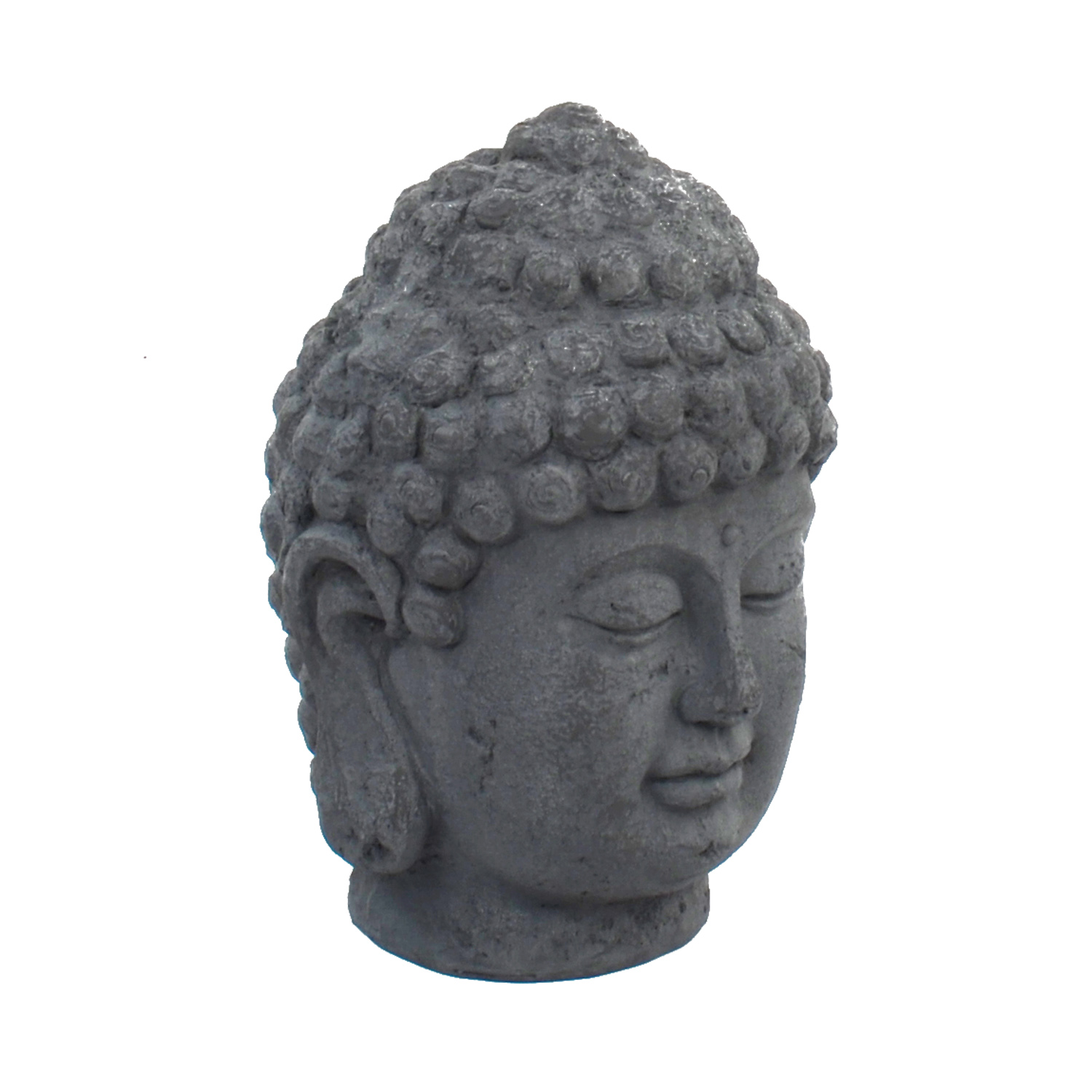 BUDDHA HEAD 42CM GREY CHARCOAL EFFECT FRONT RIGHT