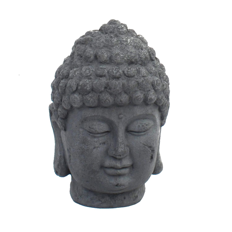 BUDDHA HEAD 42CM GREY CHARCOAL EFFECT FRONT