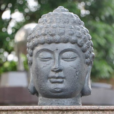 BUDDHA HEAD 42CM GREY CHARCOAL EFFECT OUTDOOR