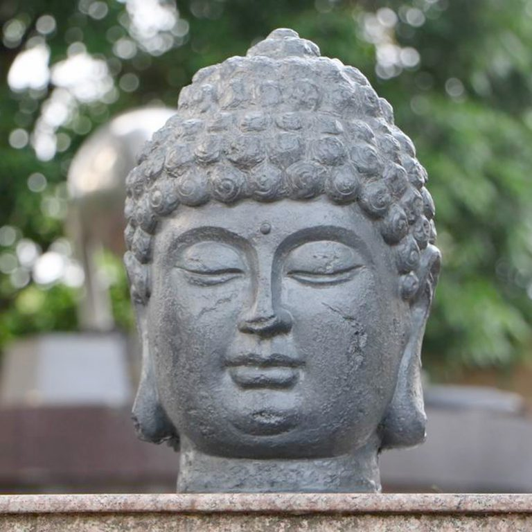 BUDDHA HEAD 42CM GREY CHARCOAL EFFECT OUTDOOR