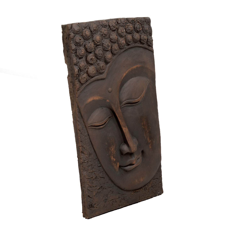 BUDDHA PLAQUE PORTRAIT 56CM BRONZE EFFECT FRONT RIGHT