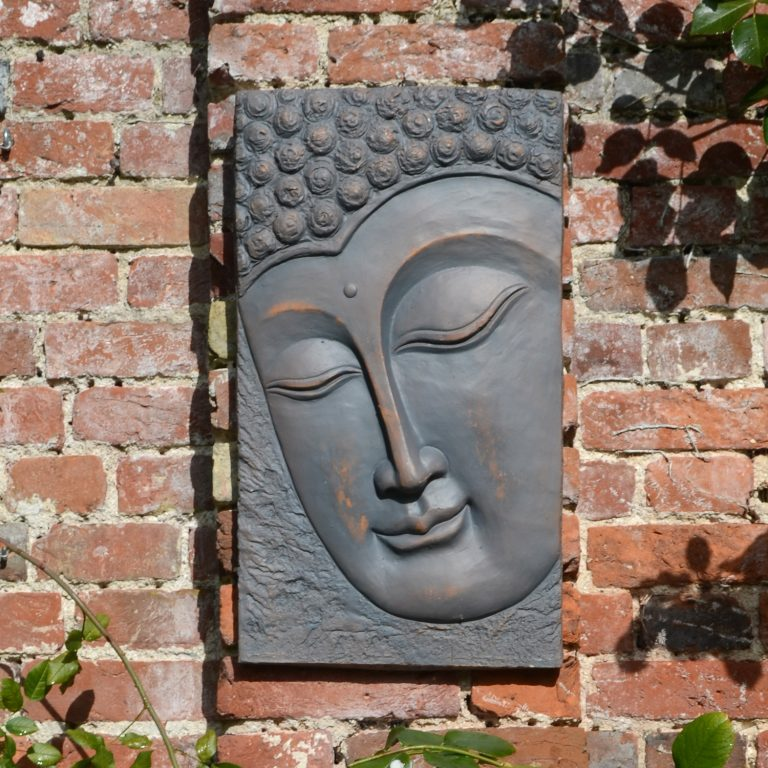 BUDDHA PLAQUE PORTRAIT 56CM BRONZE EFFECT OUTDOOR