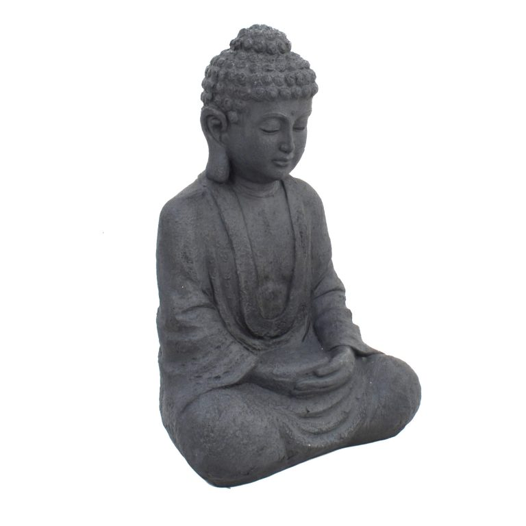 BUDDHA SITTING 61CM GREY CHARCOAL EFFECT FRONT RIGHT