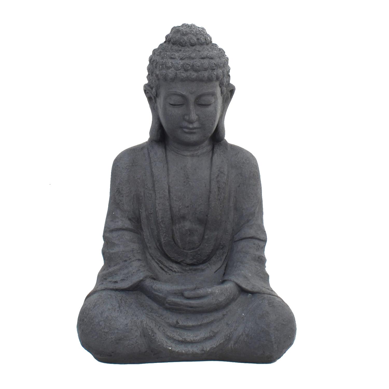 BUDDHA SITTING 61CM GREY CHARCOAL EFFECT FRONT