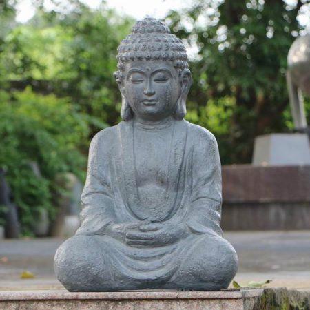 BUDDHA SITTING 61CM GREY CHARCOAL EFFECT OUTDOOR