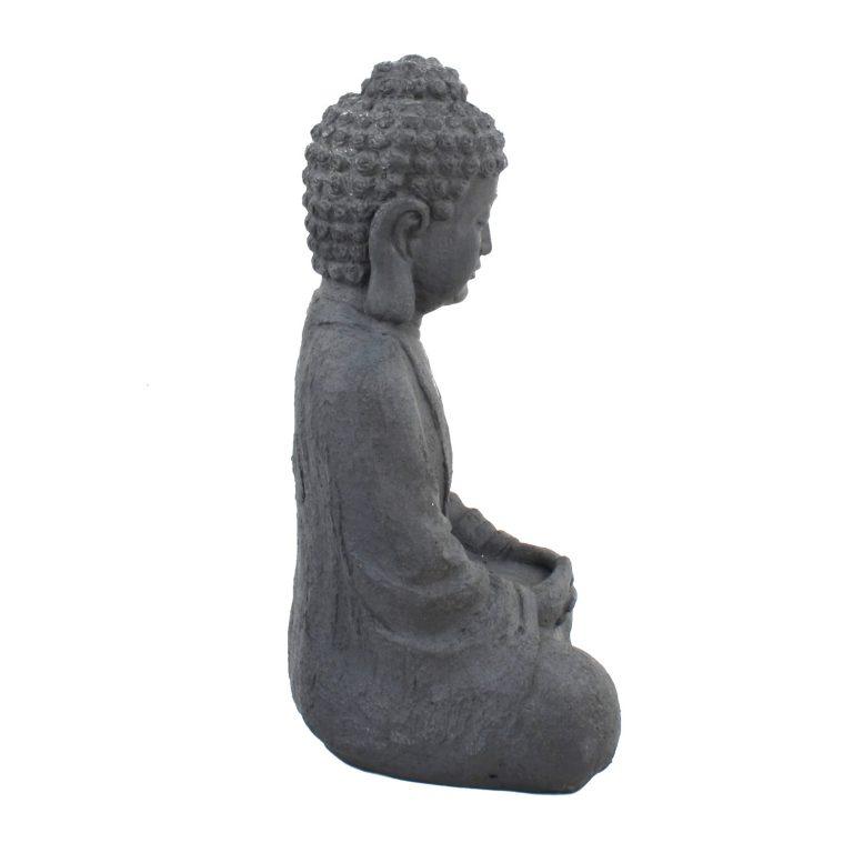 BUDDHA SITTING 61CM GREY CHARCOAL EFFECT RIGHT